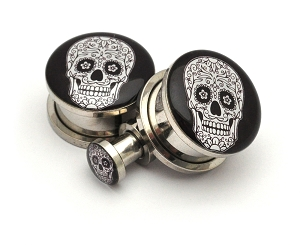 316L Stainless Steel Day of the Dead Style 5 Picture Plugs