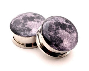 316L Stainless Steel Full Moon Picture Plugs