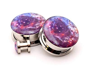 316L Stainless Steel Galaxy Picture Plugs