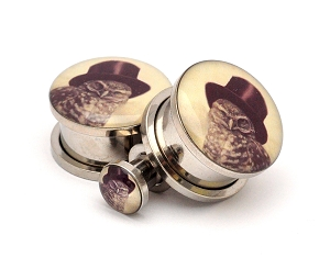 316L Stainless Steel Steampunk Owl Picture Plugs