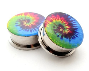 316L Stainless Steel Tie Dye Picture Plugs