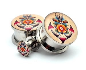 316L Stainless Steel Traditional Anchor Picture Plugs