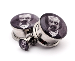 316L Stainless Steel Zombie Edgar Allen Poe Picture Plugs