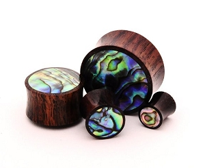 Sono Wood Plugs with Abalone Inlay