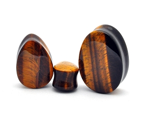Tiger Eye Teardrop Plugs (Sold in pairs)