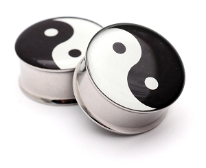 316L Stainless Steel Yin Yang Picture Plugs