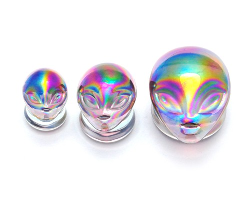 Iridescent Purple Alien Glass Plugs