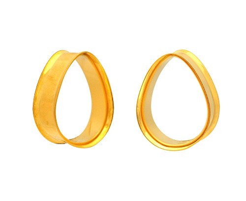 Pair of Gold Steel Double Flare Teardrop Tunnels