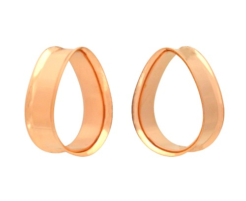 Pair of Rose Gold Steel Double Flare Teardrop Tunnels