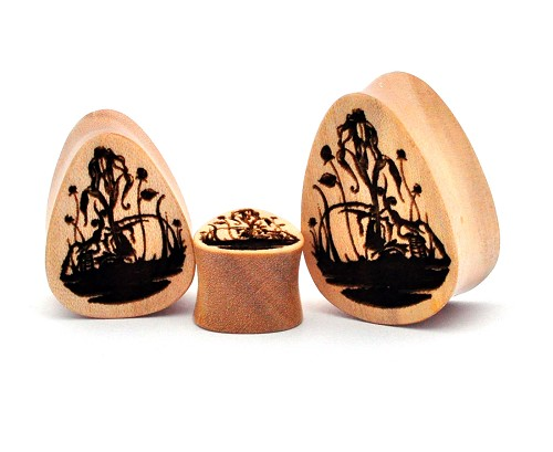 Laser Engraved Death Blooms Teardrop Wood Plugs