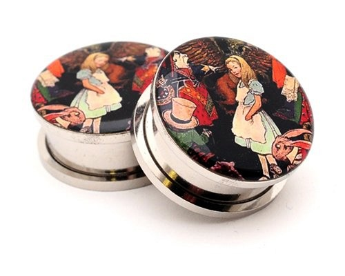 316L Stainless Steel Alice Style 1 Picture Plugs