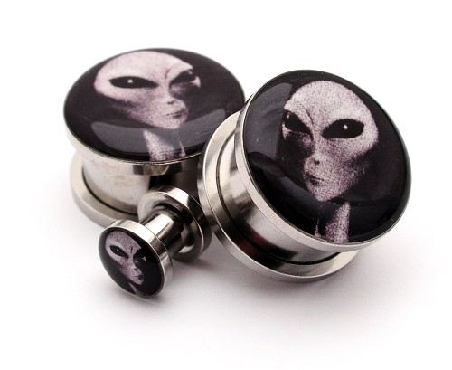 316L Stainless Steel Alien Picture Plugs