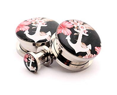 316L Stainless Steel Floral Anchor Picture Plugs
