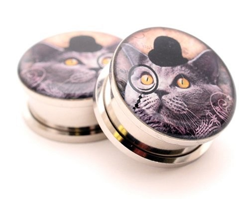316L Stainless Steel Gentleman Kitty Picture Plugs