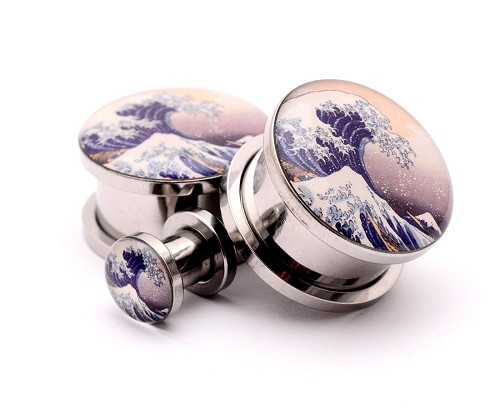 316L Stainless Steel Tidal Wave Picture Plugs