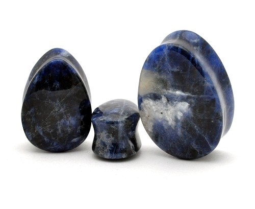Sodalite Teardrop Plugs (Sold in pairs)