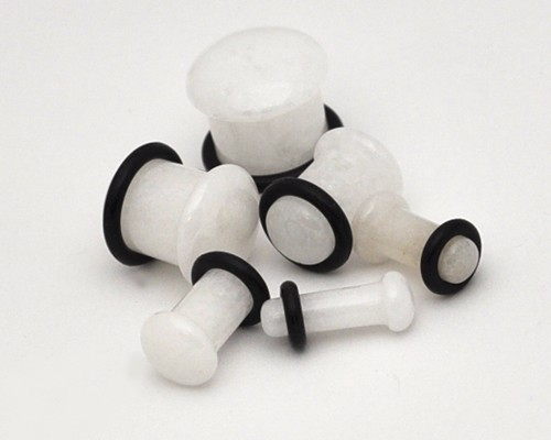 White Jade Stone Single Flare Plugs (Sold in pairs)